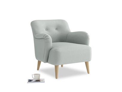 Diggidy Armchair in French blue brushed cotton