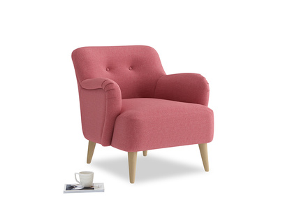Diggidy Armchair in Raspberry brushed cotton