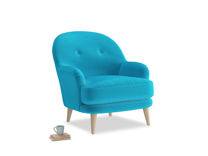 Sweetspot Armchair in Azure plush velvet