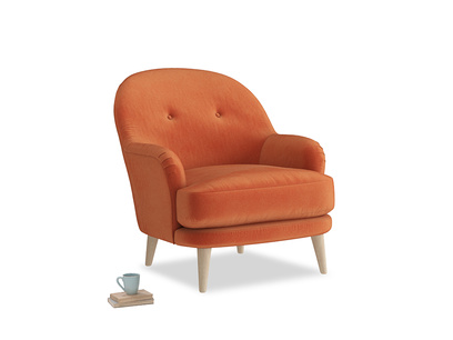 Armchair Sweetspot in Old Orange Clever Deep Velvet