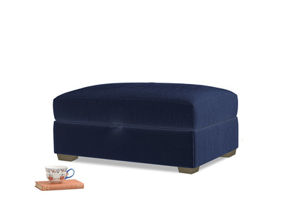Bumper Storage Footstool in Goodnight blue Clever Deep Velvet