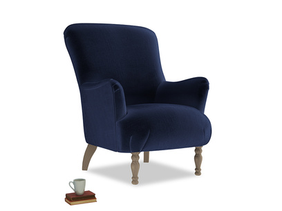 Gramps Armchair in Goodnight blue Clever Deep Velvet