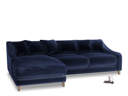 Large left hand Oscar Chaise Sofa in Goodnight blue Clever Deep Velvet