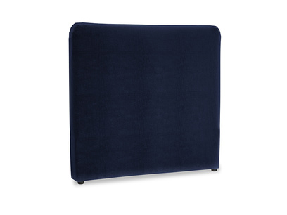 Double Ruffle Headboard in Goodnight blue Clever Deep Velvet