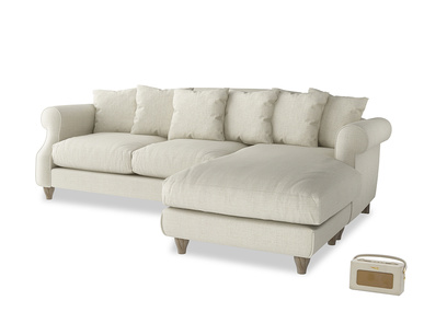 XL Right Hand  Sloucher Chaise Sofa in Stone Vintage Linen