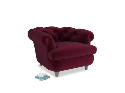 Swaggamuffin Armchair in Merlot Plush Velvet