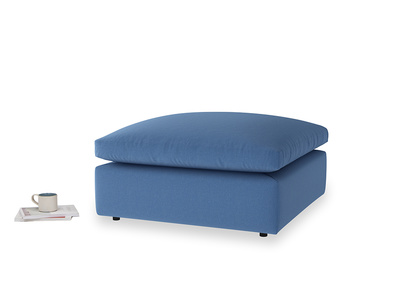 Cuddlemuffin Footstool in English blue Brushed Cotton