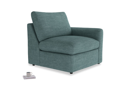 Chatnap Storage Single Seat in Blue Turtle Clever Laundered Linen with a right arm