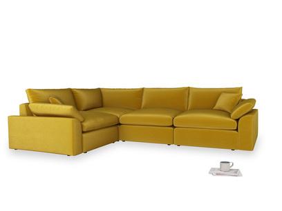 Large left hand Cuddlemuffin Modular Corner Sofa in Burnt yellow vintage velvet