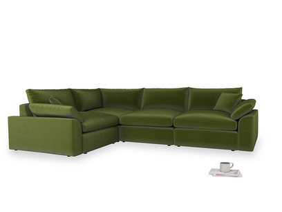 Large left hand Cuddlemuffin Modular Corner Sofa in Good green Clever Deep Velvet