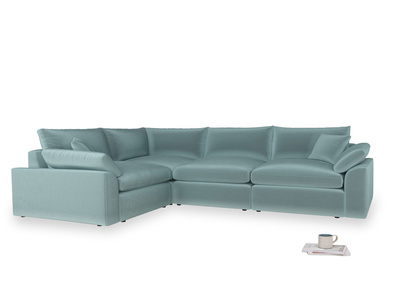 Large left hand Cuddlemuffin Modular Corner Sofa in Lagoon clever velvet