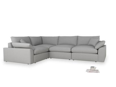 Large left hand Cuddlemuffin Modular Corner Sofa in Magnesium washed cotton linen