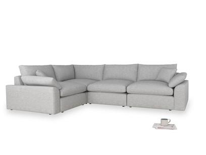 Large left hand Cuddlemuffin Modular Corner Sofa in Mist cotton mix