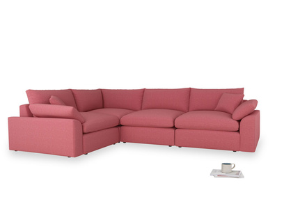 Large left hand Cuddlemuffin Modular Corner Sofa in Raspberry brushed cotton