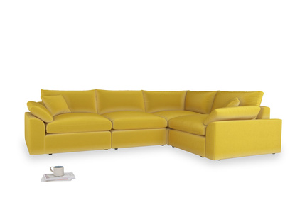 Large right hand Cuddlemuffin Modular Corner Sofa in Bumblebee clever velvet