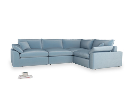 Large right hand Cuddlemuffin Modular Corner Sofa in Chalky blue vintage velvet