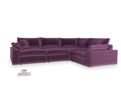 Large right hand Cuddlemuffin Modular Corner Sofa in Grape clever velvet