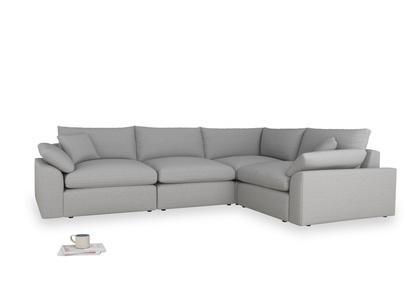 Large right hand Cuddlemuffin Modular Corner Sofa in Magnesium washed cotton linen