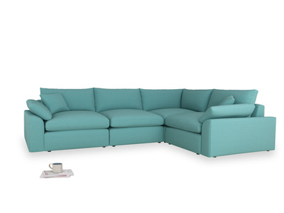 Large right hand Cuddlemuffin Modular Corner Sofa in Peacock brushed cotton