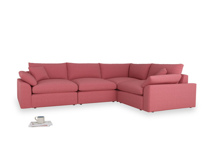 Large right hand Cuddlemuffin Modular Corner Sofa in Raspberry brushed cotton