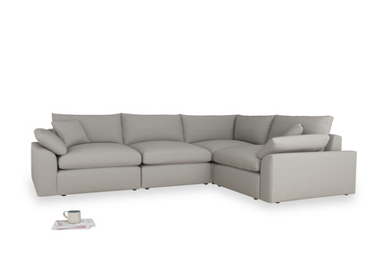 Large right hand Cuddlemuffin Modular Corner Sofa in Wolf brushed cotton
