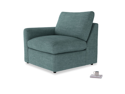 Chatnap Storage Single Seat in Blue Turtle Clever Laundered Linen with a left arm