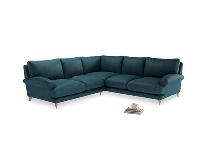 Even Sided Slowcoach Corner Sofa in Harbour Blue Vintage Linen