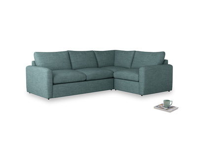 Large right hand Chatnap modular corner sofa bed in Blue Turtle Clever Laundered Linen with both arms