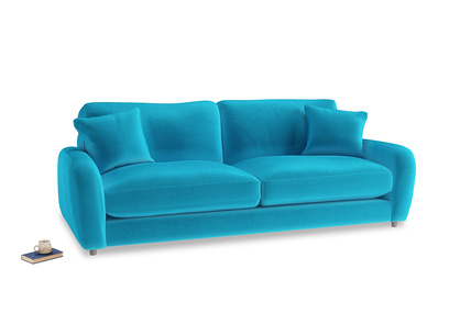 Large Easy Squeeze Sofa in Azure plush velvet