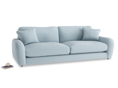 Extra large Easy Squeeze Sofa in Soothing blue washed cotton linen