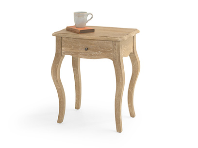 French style Mimi bedside table hand-carved in reclaimed wood with one storage drawer