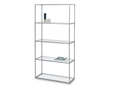 Tall Wolfie industrial style glass and metal shelf