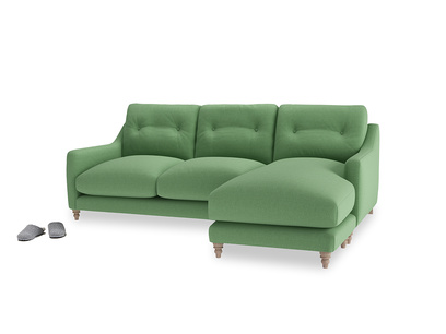 Large right hand Slim Jim Chaise Sofa in Clean green Brushed Cotton