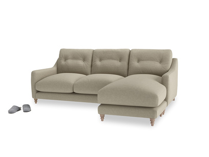 Large right hand Slim Jim Chaise Sofa in Jute vintage linen