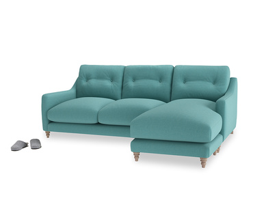 Large right hand Slim Jim Chaise Sofa in Peacock brushed cotton