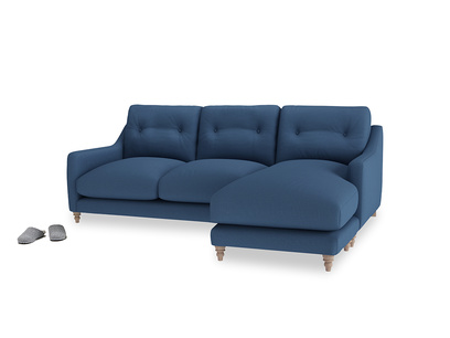 Large right hand Slim Jim Chaise Sofa in True blue Clever Linen