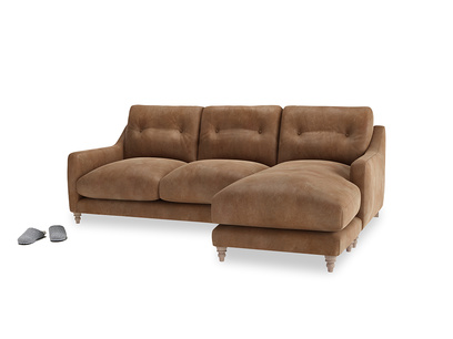 Large right hand Slim Jim Chaise Sofa in Walnut beaten leather