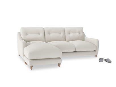 Large left hand Slim Jim Chaise Sofa in Oyster white clever linen