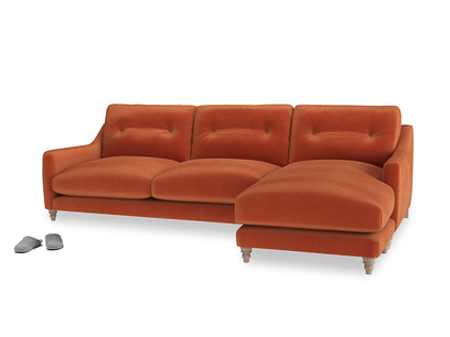 XL Right Hand  Slim Jim Chaise Sofa in Old Orange Clever Deep Velvet
