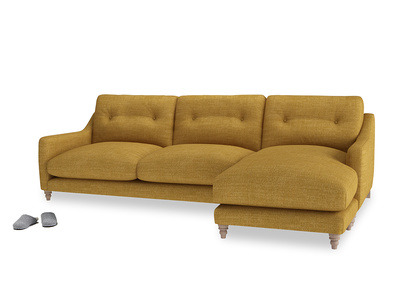XL Right Hand  Slim Jim Chaise Sofa in Mellow Yellow Clever Laundered Linen