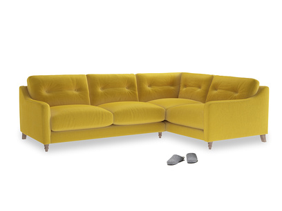 Large Right Hand Slim Jim Corner Sofa in Bumblebee clever velvet