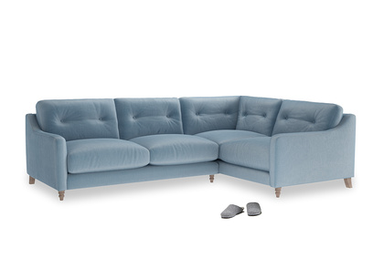 Large Right Hand Slim Jim Corner Sofa in Chalky blue vintage velvet