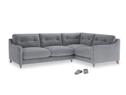 Large Right Hand Slim Jim Corner Sofa in Dove grey wool