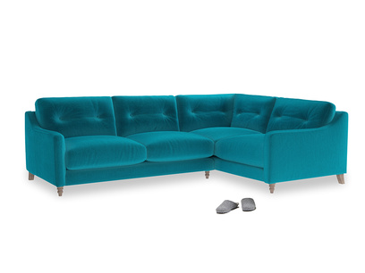 Large Right Hand Slim Jim Corner Sofa in Pacific Clever Velvet
