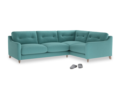 Large Right Hand Slim Jim Corner Sofa in Peacock brushed cotton