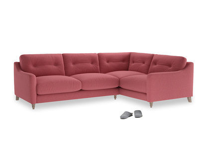 Large Right Hand Slim Jim Corner Sofa in Raspberry brushed cotton