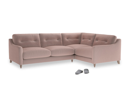 Large Right Hand Slim Jim Corner Sofa in Rose quartz Clever Deep Velvet
