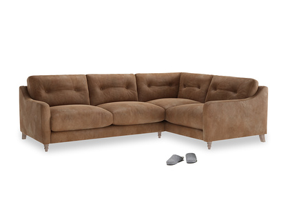 Large Right Hand Slim Jim Corner Sofa in Walnut beaten leather