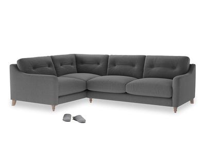 Large Left Hand Slim Jim Corner Sofa in Ash washed cotton linen