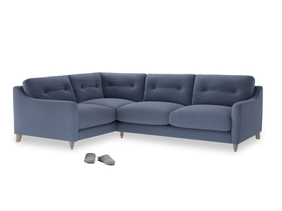 Large Left Hand Slim Jim Corner Sofa in Breton blue clever cotton
